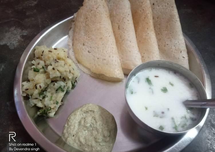Simple Way to Make Favorite Vrat ka dosa with aloo sabzi and peanuts chutney and masala chanch