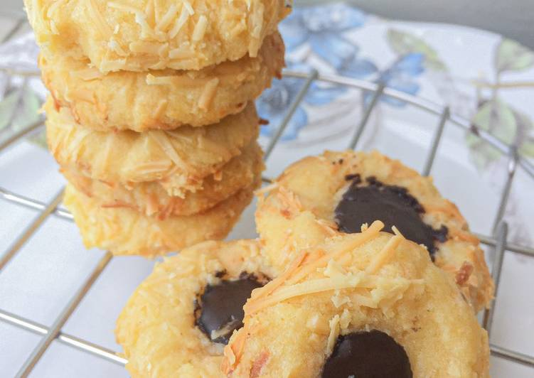 Crunchy Choco Cheese Thumbprint Cookies