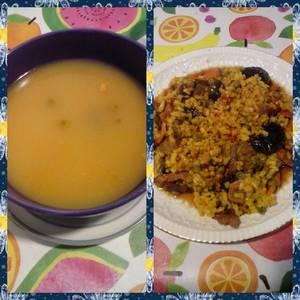 2 en 1. Arroz con ternera, verduras y salsa de soja y arroz caldoso con ternera y verduras