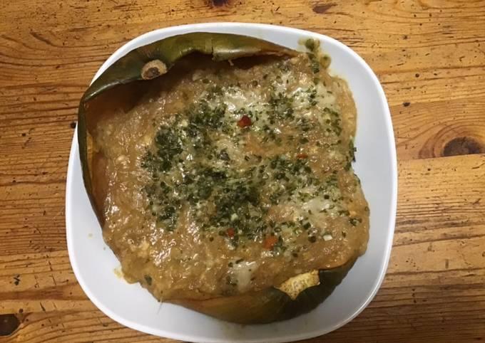 Courge sucrine farcie purées fenouil pommes de terre courge et tête de moine