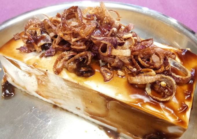 Steamed Tofu with Fried Shallots and Oyster Sauce