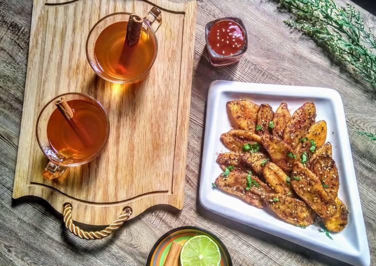 Easiest Way to Cook Perfect Masala wedge fries with Arabic cinnamon tea