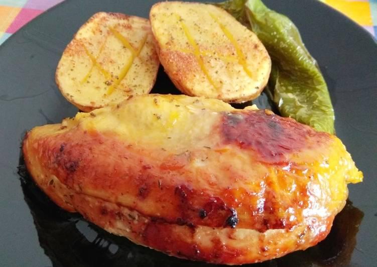 Receta fácil: Delicioso Pollo al horno con mostaza a la miel y tomillo
