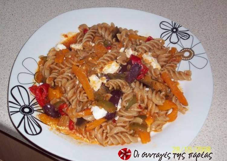Recipe of Quick Mediterranean penne with eggplant, feta cheese and tomato