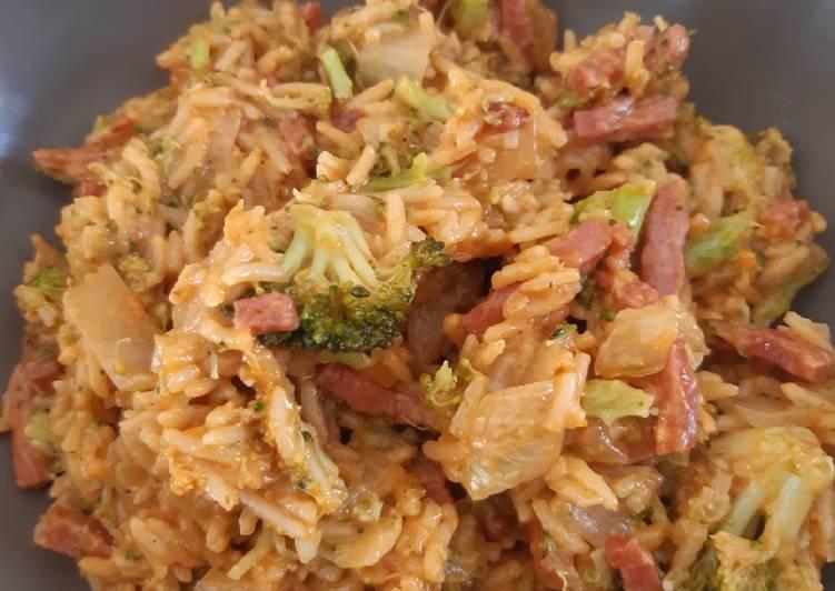 La Recette Pas à Pas Riz aux brocolis et bacon au cookeo
