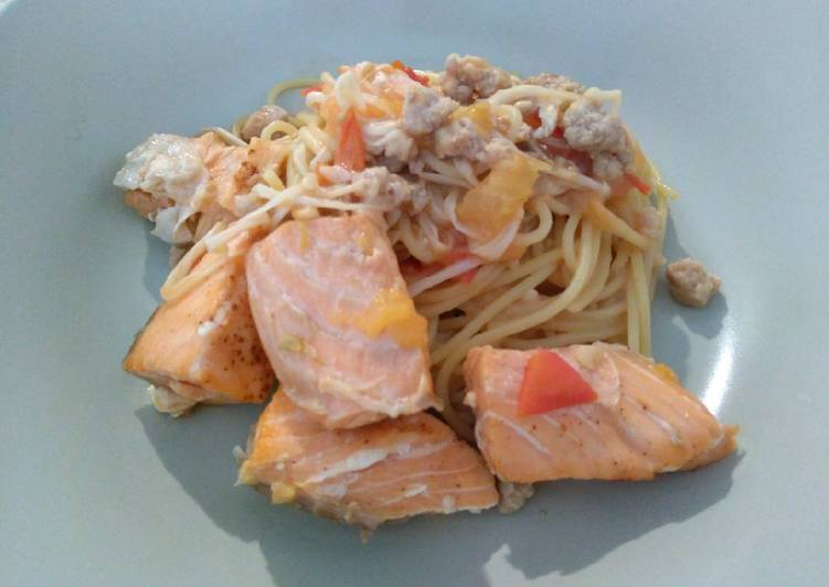 Easiest Way to Make Yummy 三文鱼优格天使面 Salmon Yogurt Angel Hair Pasta