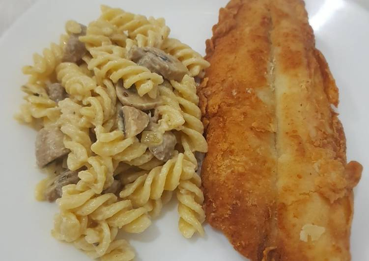 Fish and pasta mushroon