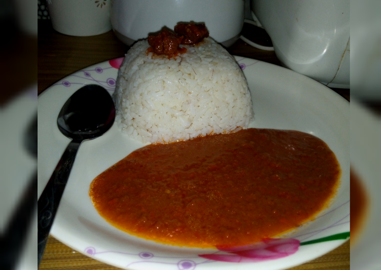 Rice with tomato soup