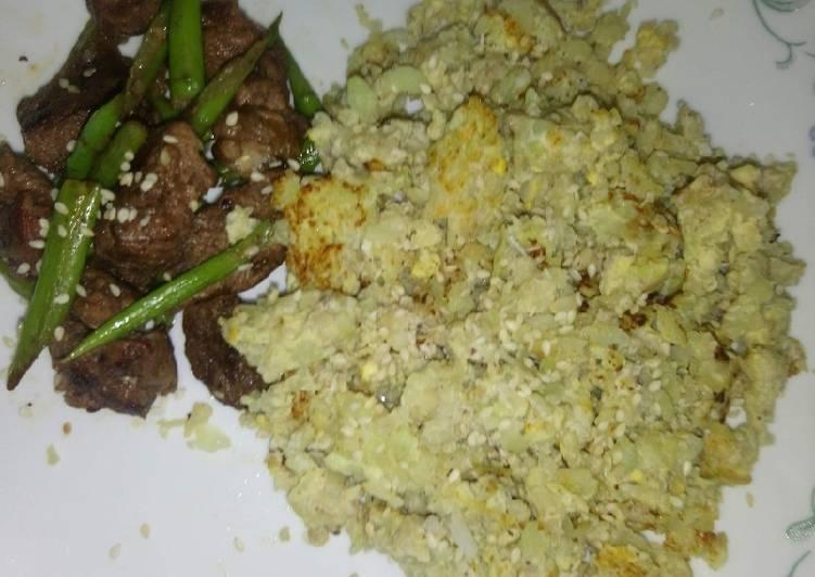 Zesty lemon beef or pork soy with asparagus and caulirice