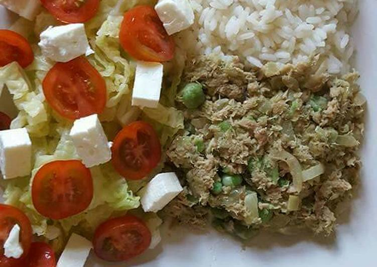 Discover How to Boost Your Mood with Food Lemon scented rice and tuna, with salad