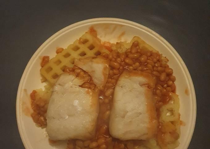 Baked Cod and Potato Waffles