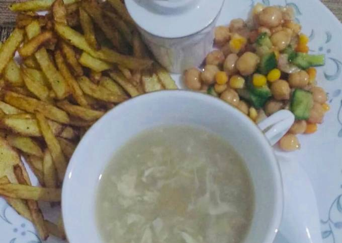 Chicken corn soup & chikpea salad with french fries 🍟