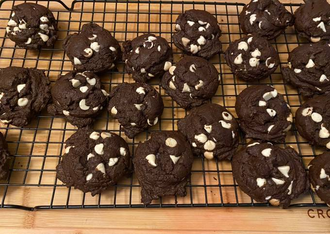 Inside Out Double Chocolate Chip Cake Cookies
