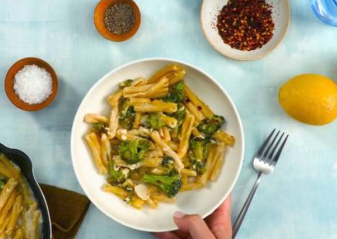Pasta with Charred Broccoli, Feta, and Lemon