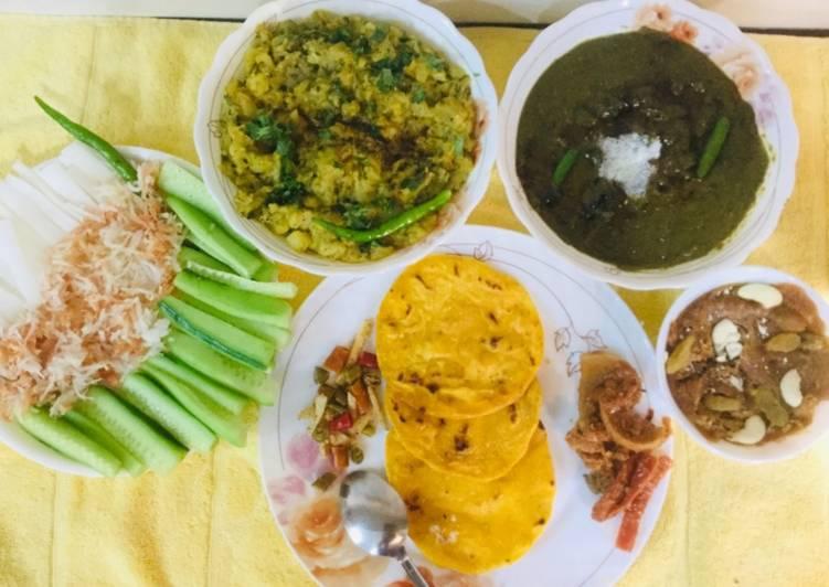 Steps to Prepare Super Quick Homemade Sarson Ka Saag,Makki Ki Rotis, turnips Bhaji,hot dry fruits Gur