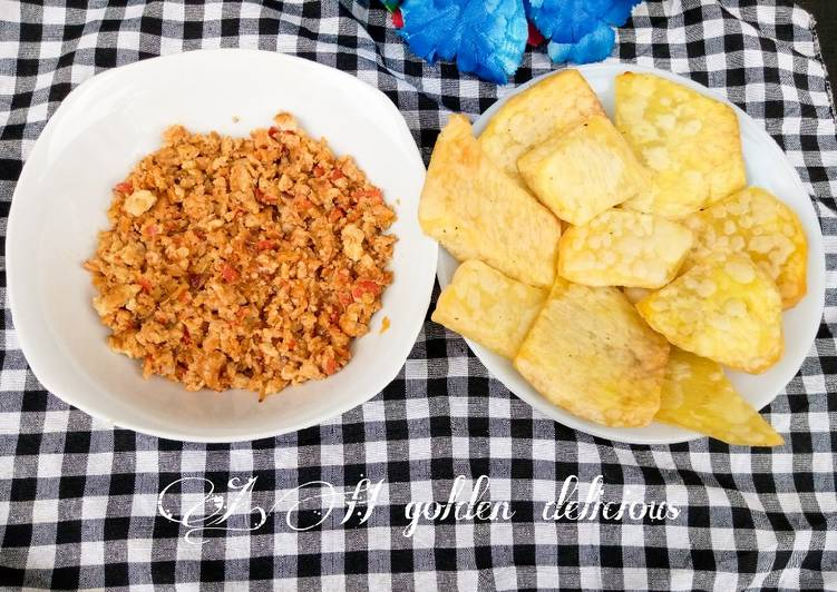 Recipe: Tasty Fried yam with scrambled egg sauce