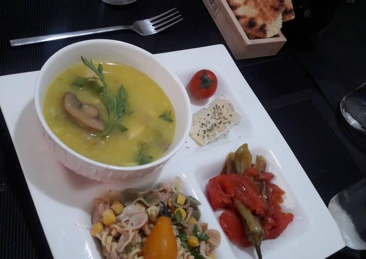 Soupe poulet champignon
