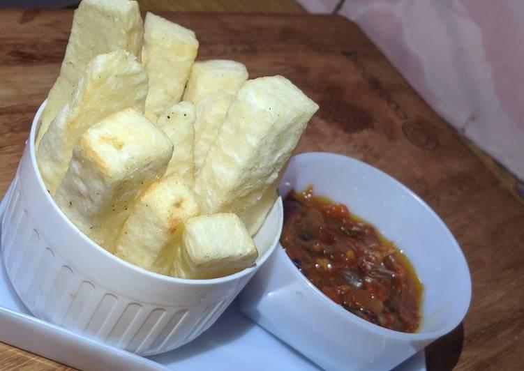 Fried yam&onion sauce