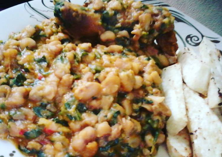 Grilled Chicken, Ugu Vegetable Honey Beans and Fried Yam Fingers recipe main photo