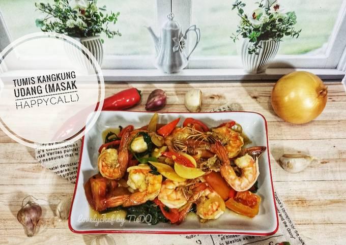 tumis kangkung udang (masak happycall) - resepenakbgt.com
