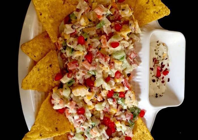 Nachos creamy delite  A very healthy and Yummylicious snacks with homemade nachos with diff veggies