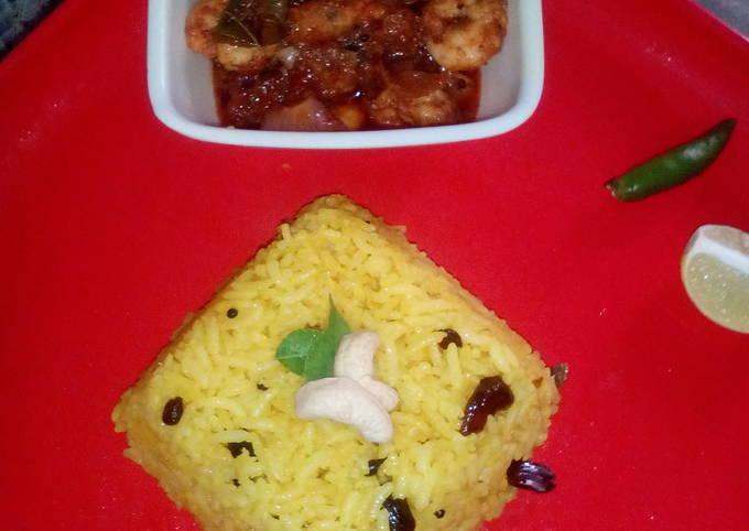 Lemon rice and prawn curry