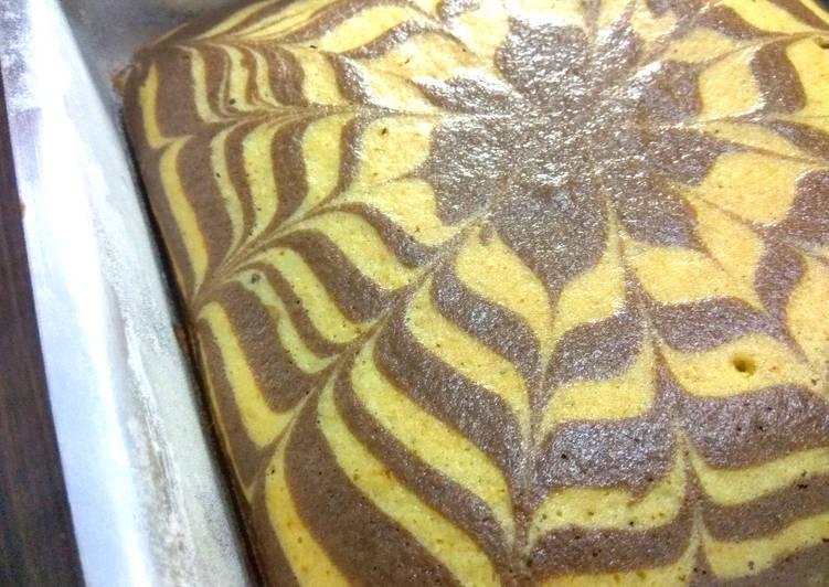 Eggless Zebra Cake (Eggless Cake Recipe)