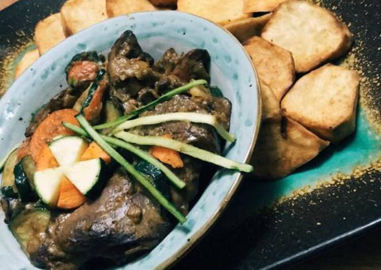 Recipe of Any-night-of-the-week Liver pilaff and Sweet potatoes chips #Offal Cooking Challenge