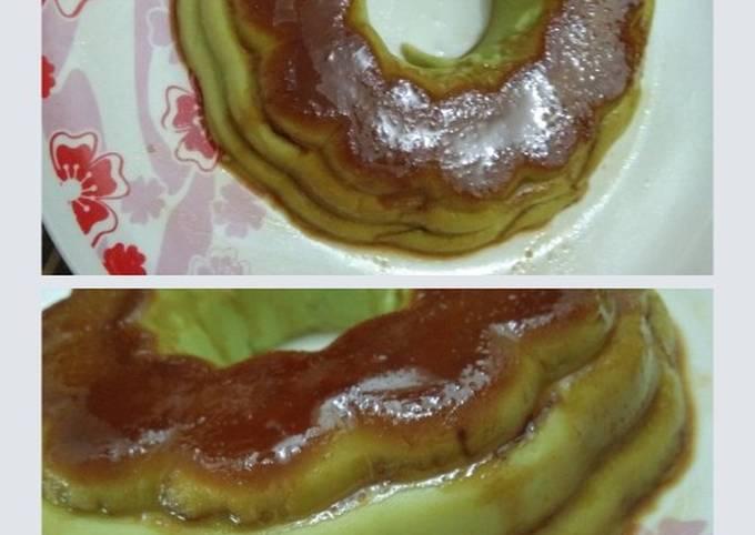 Puding roti pandan gula hangus