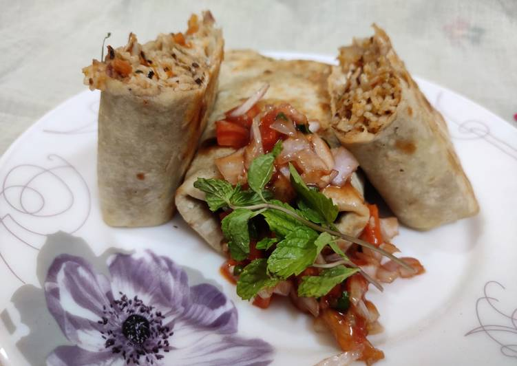 Simple Way to Make Favorite Mexican rice Burrito