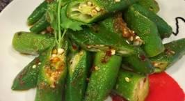 Hình ảnh món Nhâm nhi với đậu bắp luộc,trộn sốt chua cay,dầu hào