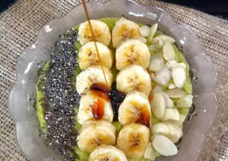 Bubur madu alpukat topping pisang almond ciaseeds