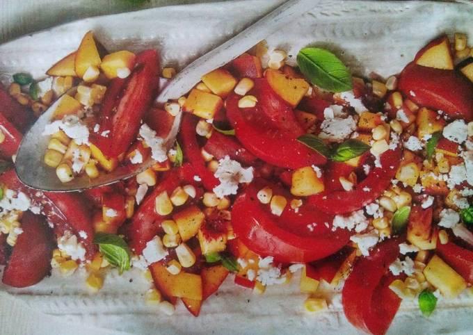 Recipe: Delicious Tomato, peach and corn salad