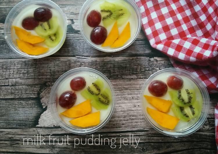 Milk Fruit puding jell