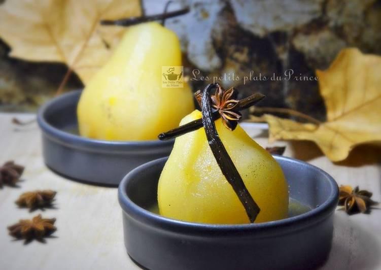 Recette Des Poires pochées au sirop de miel et épices