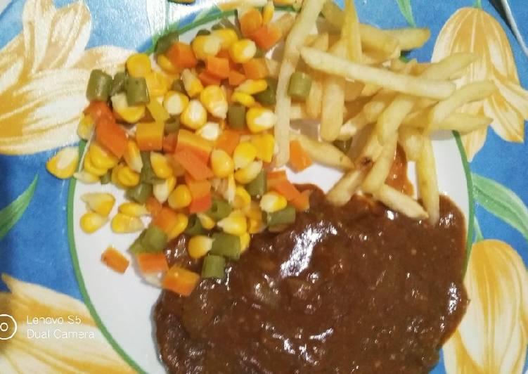 Steak daging giling saos rempah