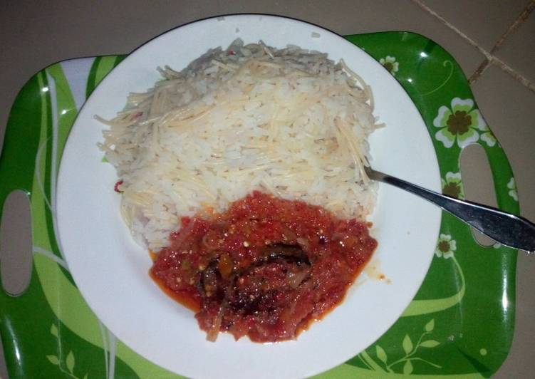 Easiest Way to Make Speedy Rice and spag with dried fish stew