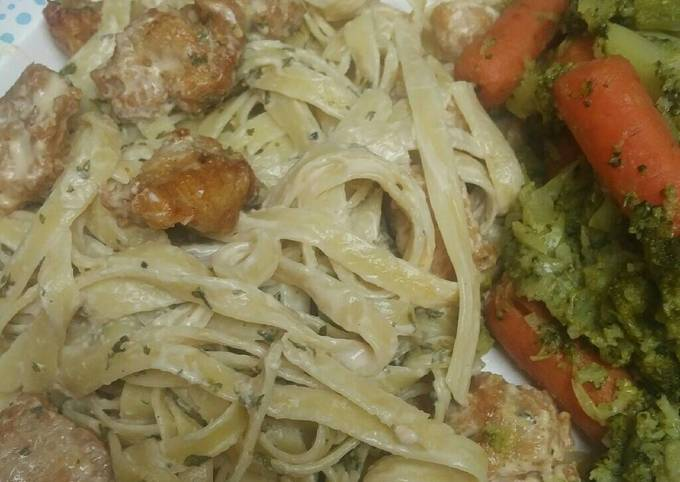 Step-by-Step Guide to Prepare Super Quick Homemade Simple Fried Chicken Fettuccine Alfredo
