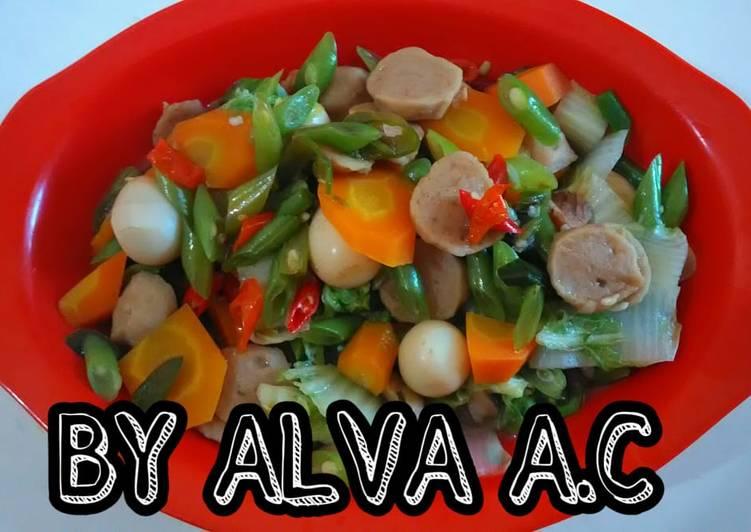 Resep Tumis Sawi Putih Wortel Buncis Bakso Telur Puyuh Oleh Alva Aprilia Chloriza Cookpad