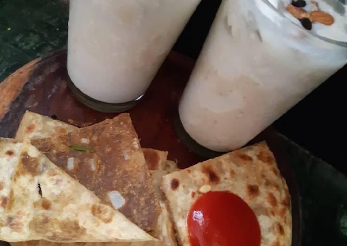 Coconut dry fruit shake with sattu paratha