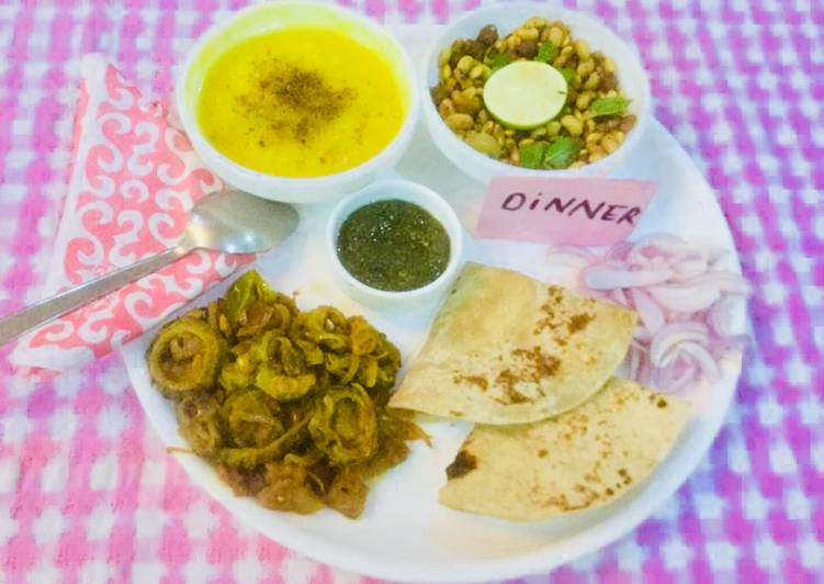 10 Minute Step-by-Step Guide to Make Refreshing Yellow Moong Dal,Karela,Onions Bhaji,Whole lentils salad,mint chutney,Chapatis
