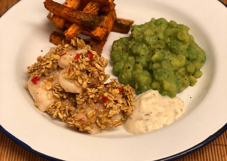 Cod Cheek Fish Chips W Wasabi Mushy Peas Recipe By Philip Pantelides Cookpad