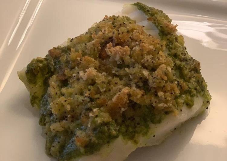 Easiest Way to Make Super Quick Homemade Pesto-crusted cod