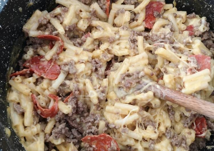 Pâtes fromages chorizo viande haché