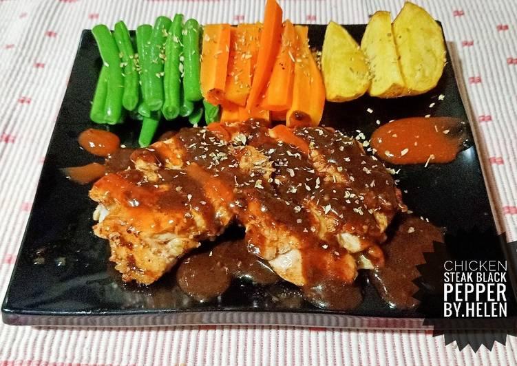 11 Resep: Chicken steak black pepper @la resto yang Sempurna!