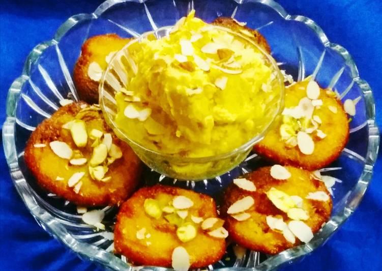 10 Minute Steps to Make Refreshing Kesariya Instant Suji Malpua and Raj Ratan Shrikhand