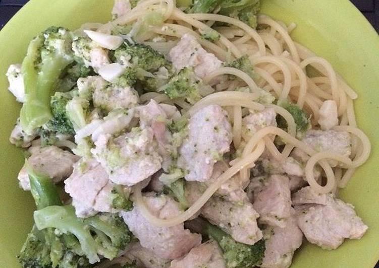 Recipe: Delicious Spaghetti Chicken Alfredo