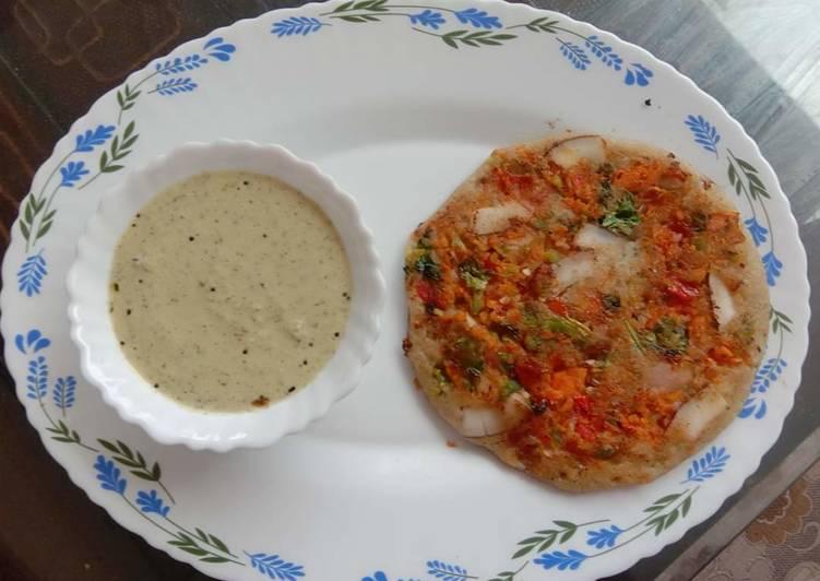 Veggie Uttapam with Peanut Chatni 😋