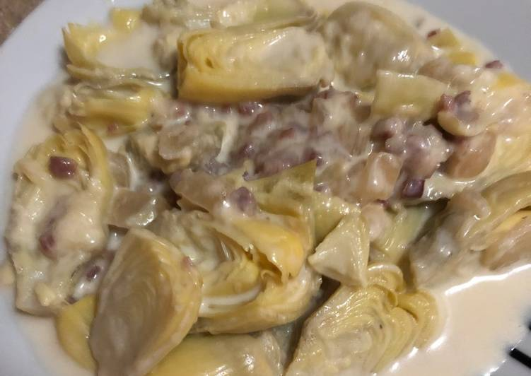 Alcachofas con jamón y mozzarella
