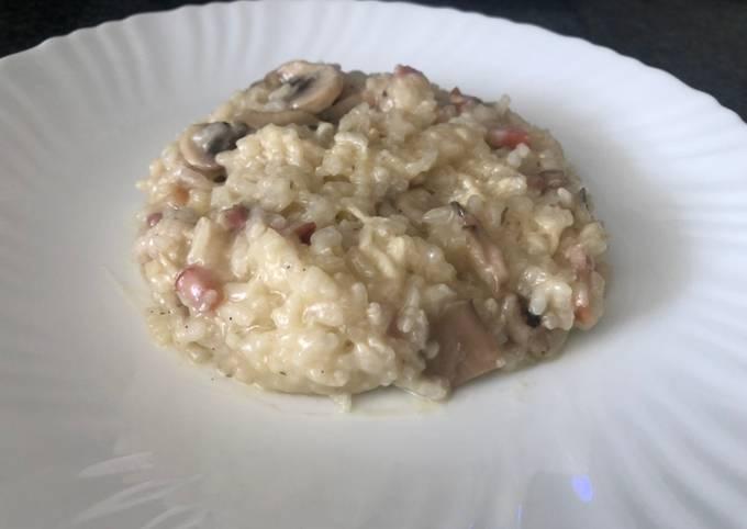 Risotto De Champiñones Y Bacon Mambo Thermomix Receta De Cocinaenmambo Cookpad